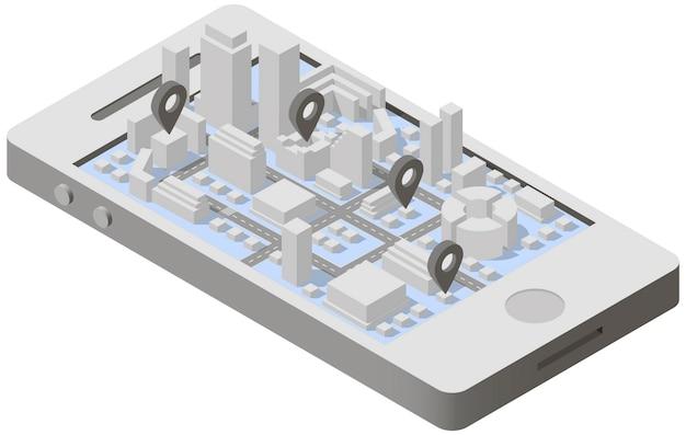 Plano de la ciudad isométrica en smartphone Vector Premium