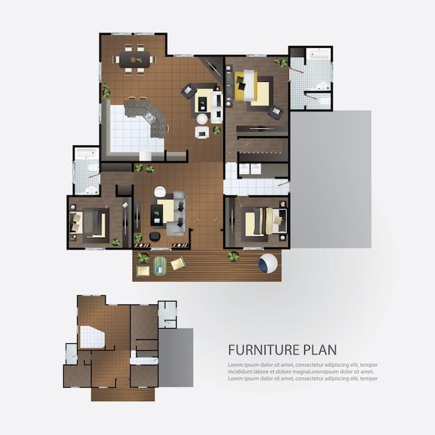 Plano de diseño interior con muebles. Vector Premium