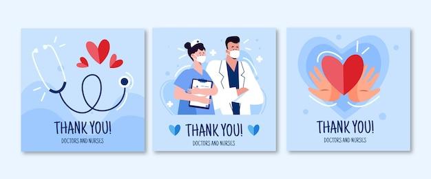Plano orgánico gracias paquete de postales de médicos y enfermeras. vector gratuito