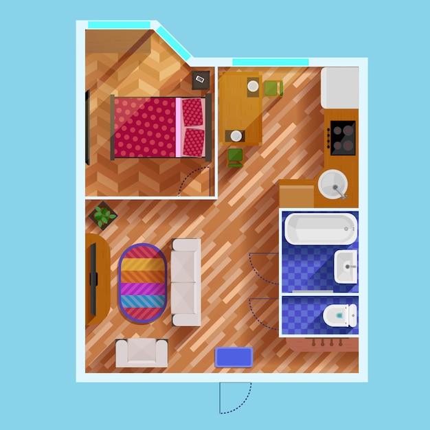 Plano de planta de un apartamento de un dormitorio vector gratuito