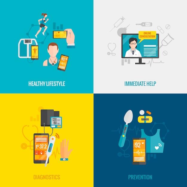 Plano de salud digital vector gratuito