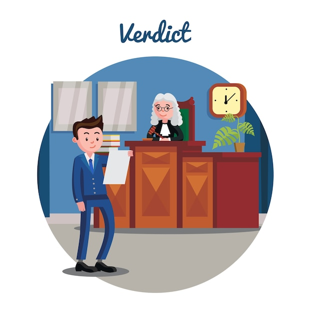 Plano del sistema judicial Vector Premium