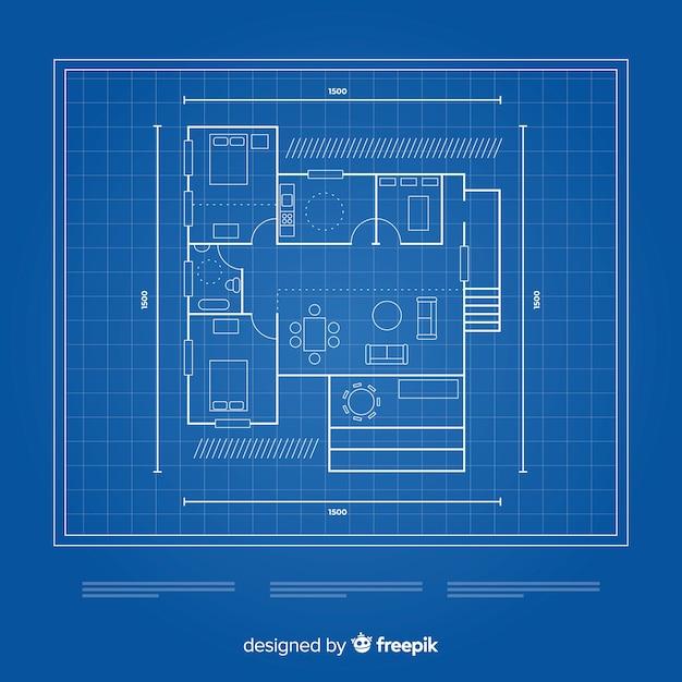 Plano de una vista superior de la casa vector gratuito