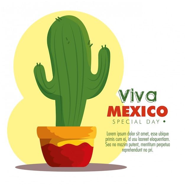 Planta de cactus para evento tradicional de méxico vector gratuito