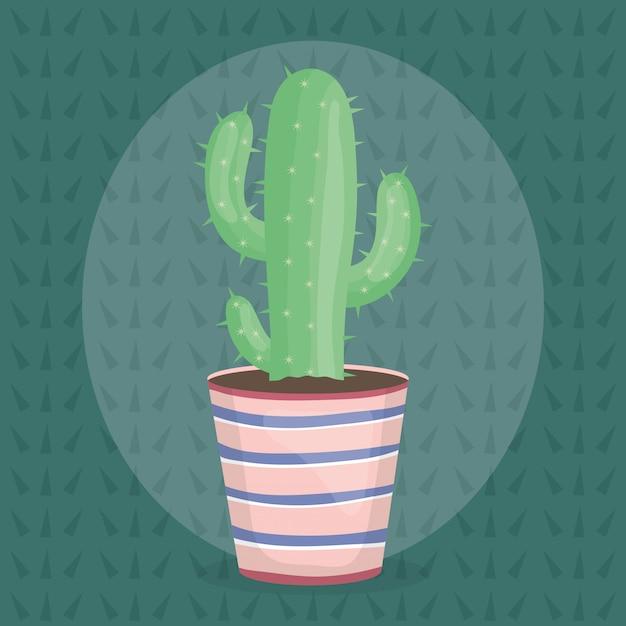 Planta exótica de cactus en maceta de cerámica. vector gratuito