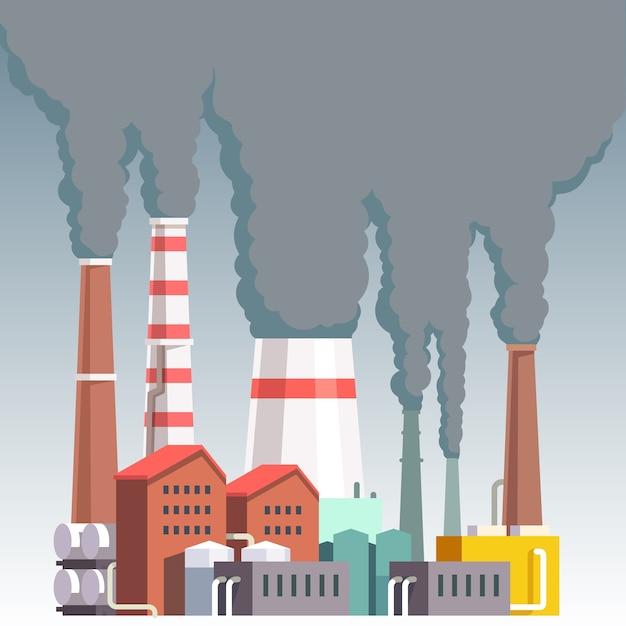 Planta de fábrica muy contaminante vector gratuito