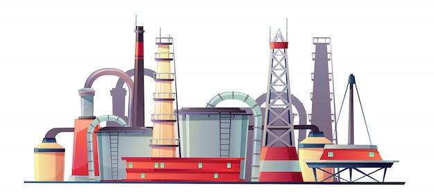 Planta de refinería de la industria del combustible. vector gratuito