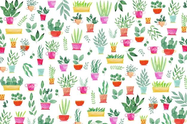 Plantas creativas en macetas de fondo vector gratuito