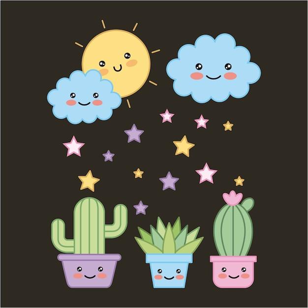 Plantas en maceta kawaii y dibujos animados de fondo oscuro sol nube Vector Premium
