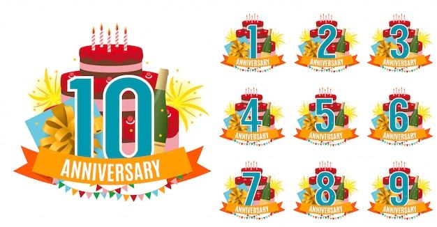 Plantilla de 1 a 10 años aniversario felicitaciones Vector Premium