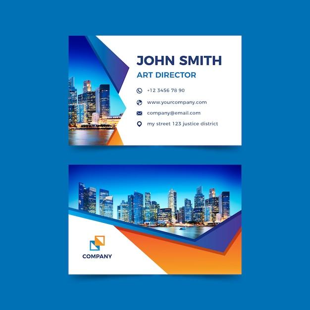 Plantilla abstracta de tarjeta de visita con foto vector gratuito