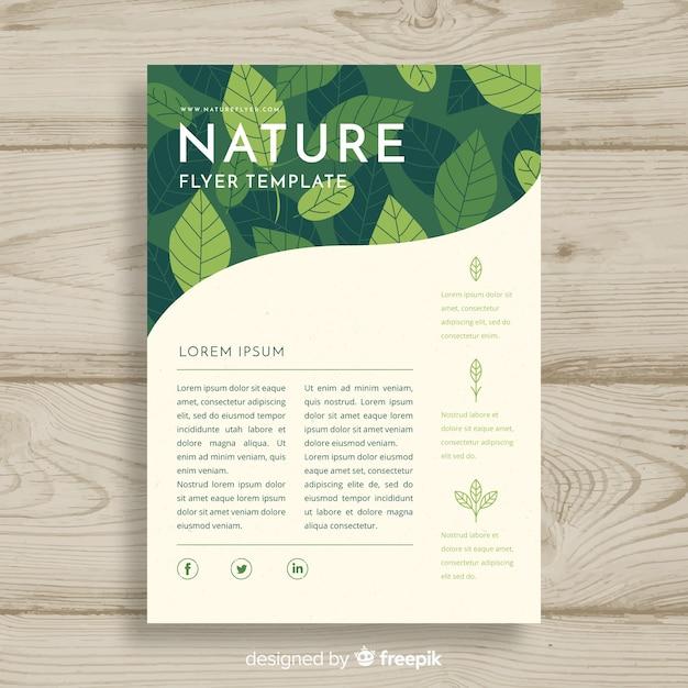 Plantilla adorable de folleto de naturaleza con estilo moderno vector gratuito
