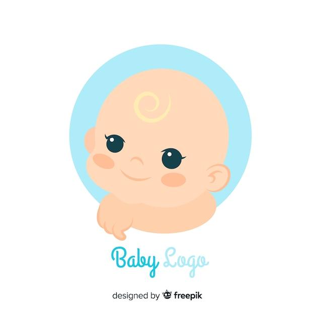 Plantilla adorable de logo de tienda de bebés vector gratuito