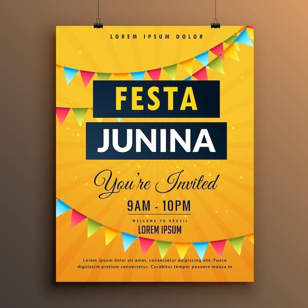 Plantilla amarilla de póster para festa junina vector gratuito