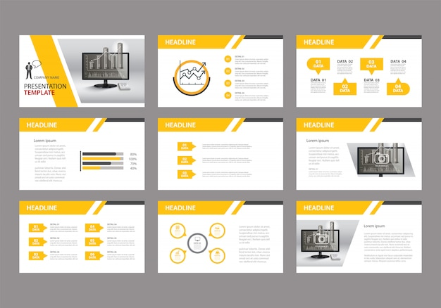 Plantilla amarilla para la presentación de diapositivas en el fondo. Vector Premium