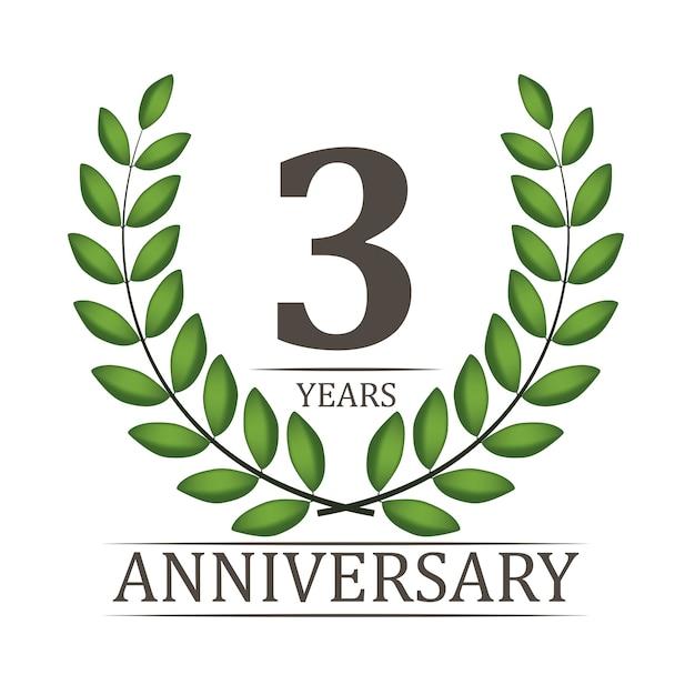 Plantilla de aniversario de 3 años con cinta roja y corona de laurel Vector Premium