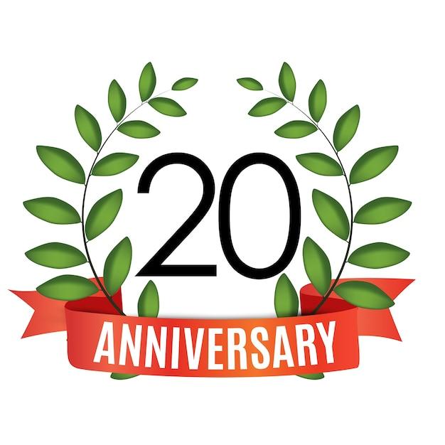 Plantilla de aniversario de años con cinta roja y corona de laurel Vector Premium