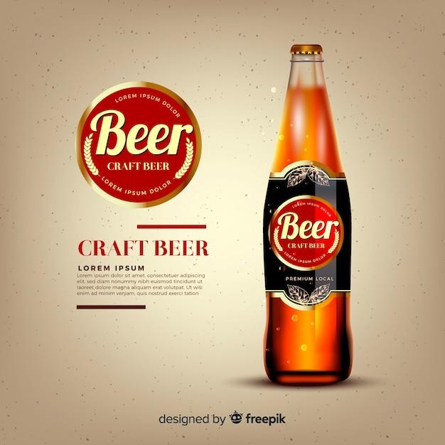Plantilla de anuncio de cerveza realista vector gratuito