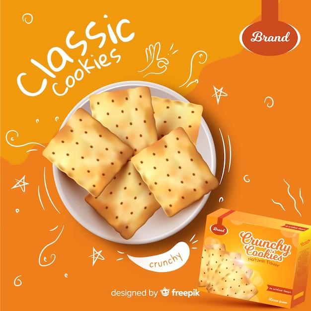 Plantilla de anuncio para cookies con garabatos vector gratuito