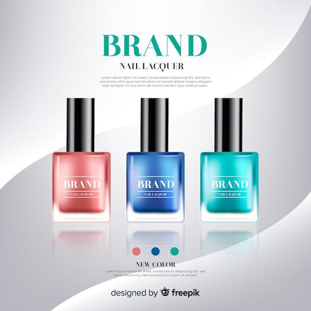 Plantilla de anuncio de esmalte de uñas realista vector gratuito