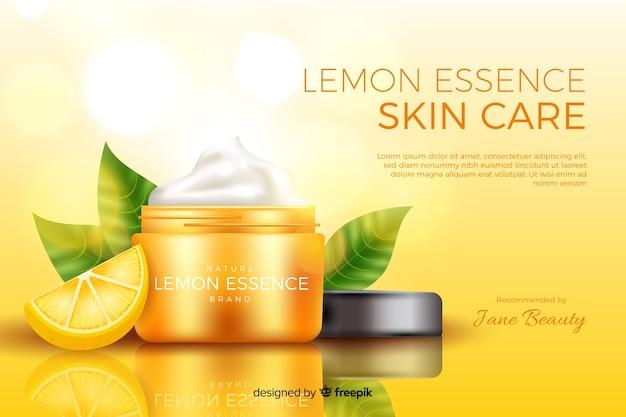 Plantilla de anuncio realista de crema natural vector gratuito