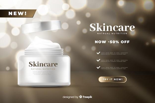 Plantilla de anuncio realista de rebajas de productos de belleza vector gratuito