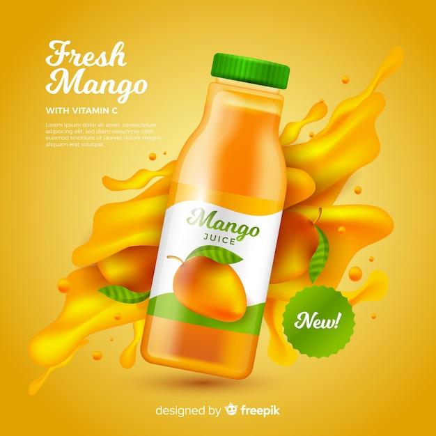 Plantilla de anuncio de zumo de mango realista vector gratuito