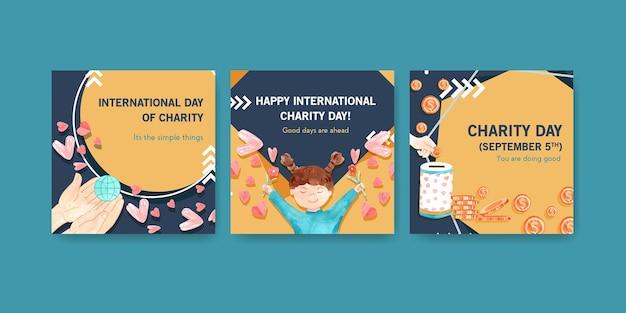 Plantilla de anuncios con diseño de concepto del día internacional de la caridad para acuarela de publicidad y marketing. vector gratuito