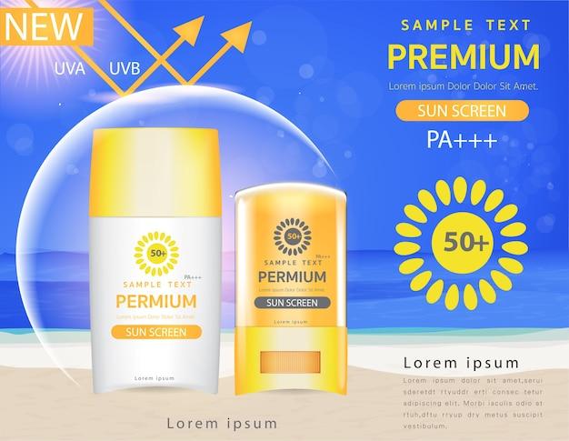 Plantilla de anuncios de protección solar, protector solar de plástico. Vector Premium