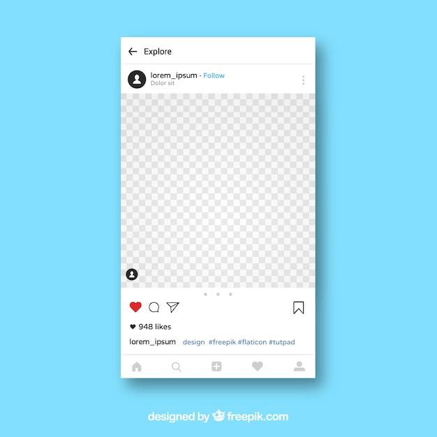 Plantilla de aplicación de instagram vector gratuito