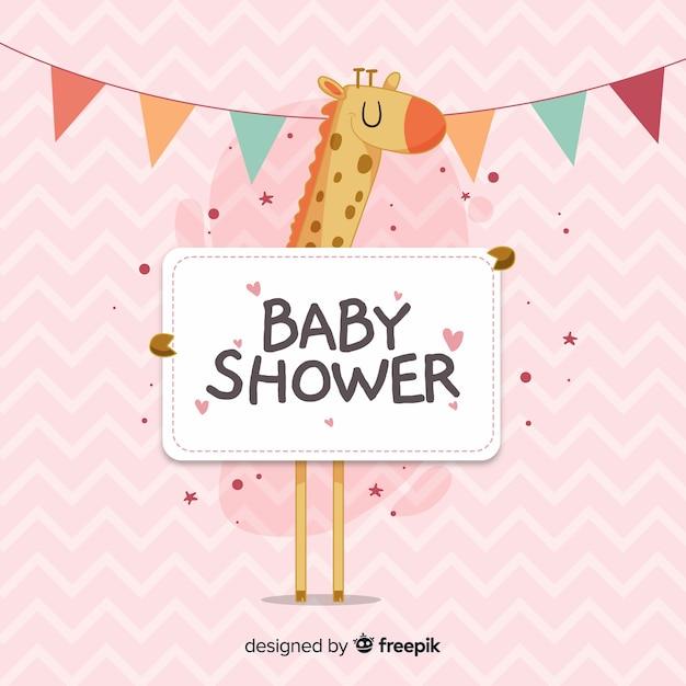 Plantilla de baby shower para niña vector gratuito