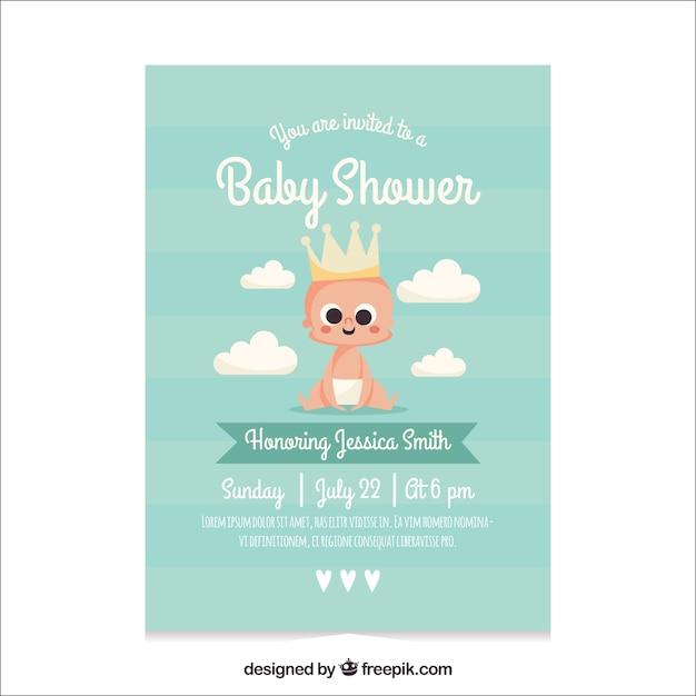 Lista De Baby Shower Nino.Plantilla De Baby Shower Para Nino Vector Gratis