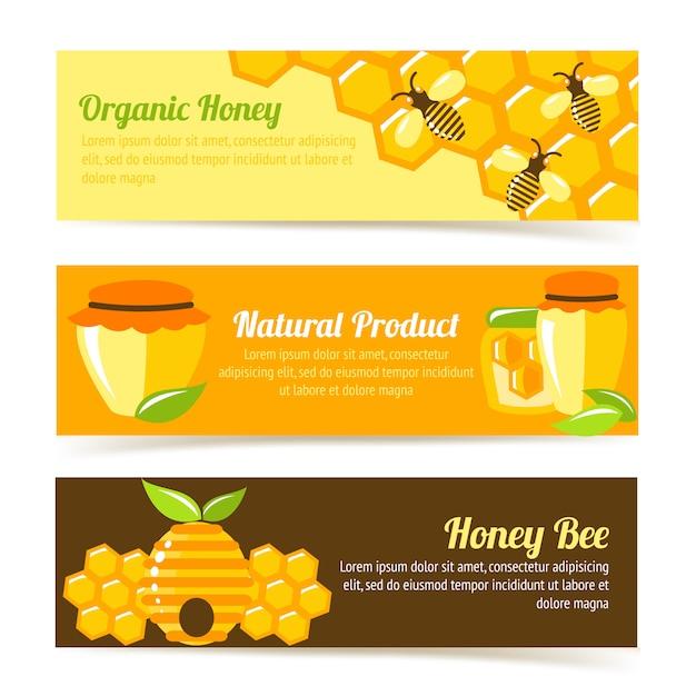 Plantilla de banner de abeja de miel vector gratuito