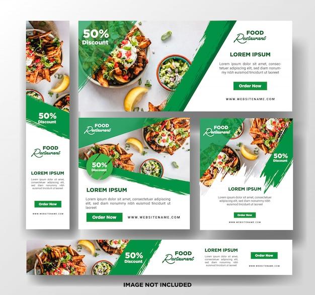 Plantilla de banner de alimentos. Vector Premium