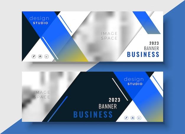 Plantilla de banner azul negocio geométrico vector gratuito