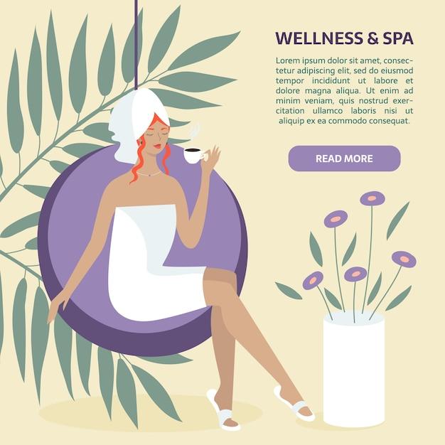 Plantilla de banner de bienestar y spa. mujer sentada con té o café. Vector Premium