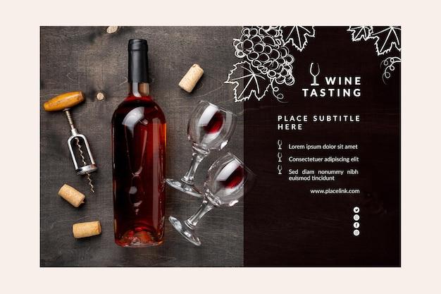 Plantilla de banner de cata de vinos vector gratuito
