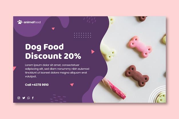 Plantilla de banner de comida para animales con foto Vector Premium