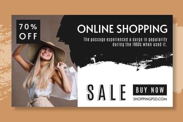 Plantilla de banner de compras en línea vector gratuito
