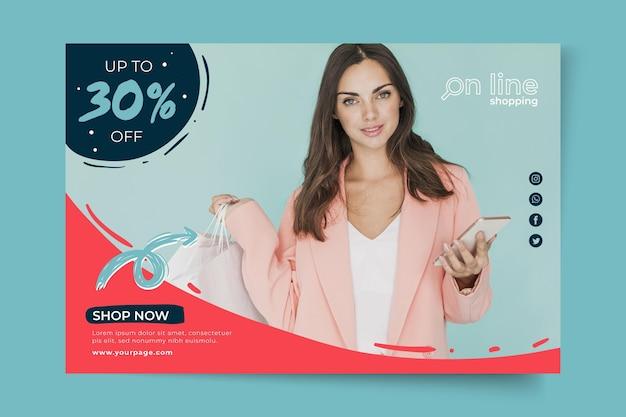 Plantilla de banner de compras en línea Vector Premium