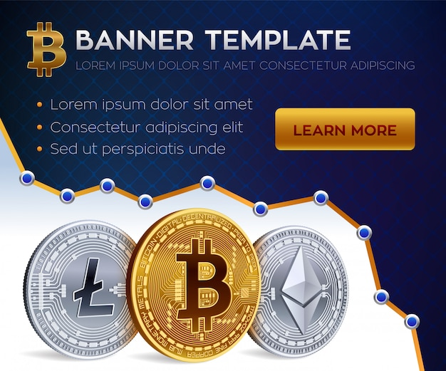 Plantilla de banner de criptomoneda. bitcoin, ethereum, litecoin monedas de oro. vector gratuito