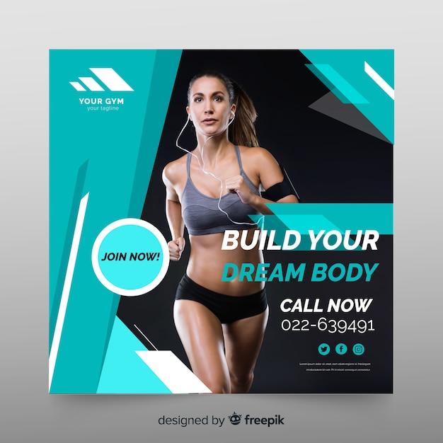 Plantilla de banner deportivo con foto vector gratuito