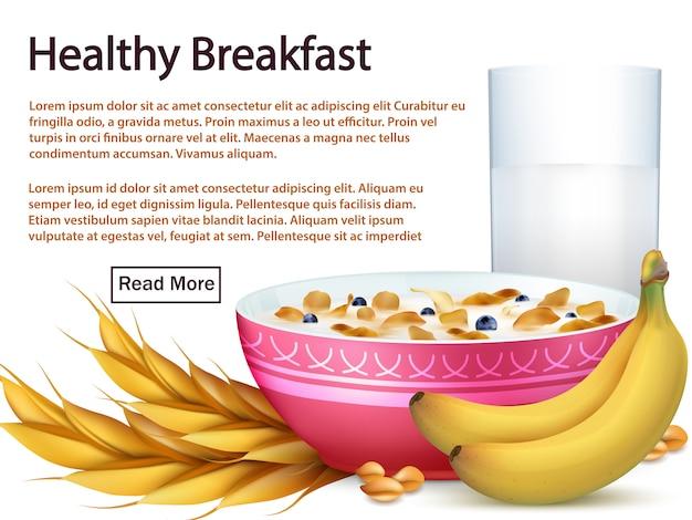 Plantilla de banner de desayuno con cereales, frutas realistas Vector Premium