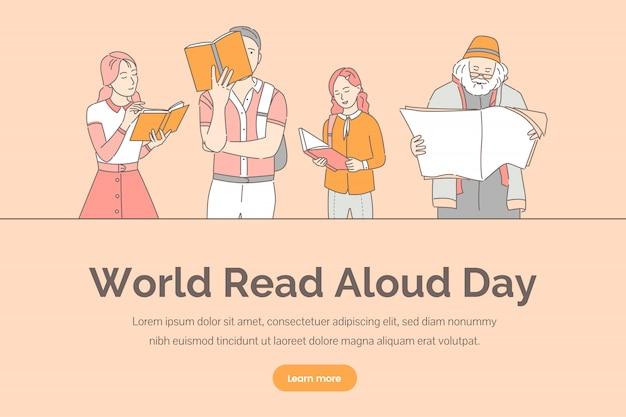 Plantilla de banner del día mundial en voz alta. personas que leen libros, periódicos y revistas. Vector Premium