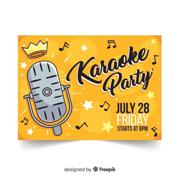 Plantilla de banner dibujado de fiesta de karaoke vector gratuito