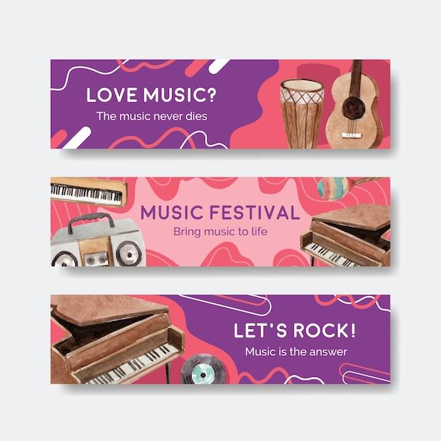 Plantilla de banner con diseño de concepto de festival de música para publicidad y marketing ilustración vectorial de acuarela vector gratuito