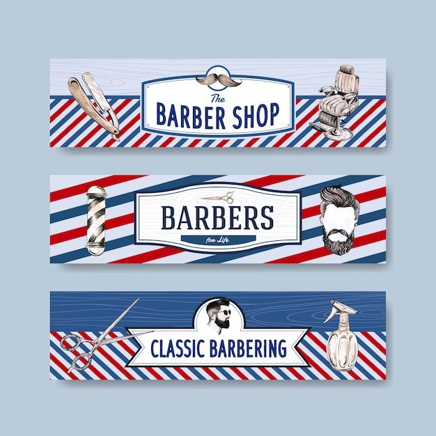 Plantilla de banner con diseño de concepto de peluquero para publicidad. vector gratuito
