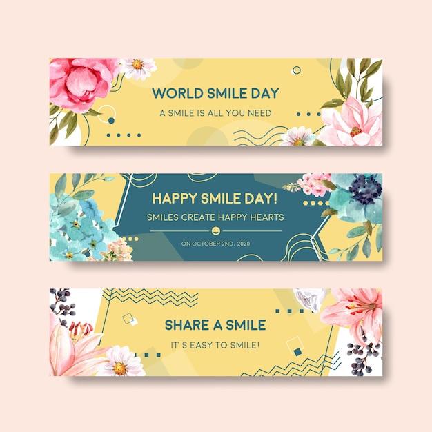 Plantilla de banner con diseño de ramo de flores para el concepto del día mundial de la sonrisa para publicitar y comercializar ilustraciones vectoriales de acuarela. vector gratuito