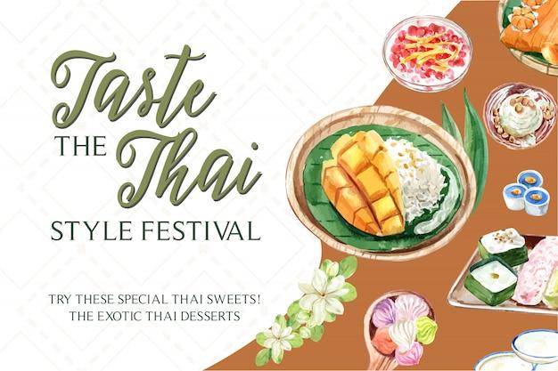 Plantilla de banner dulce tailandés con arroz pegajoso, mango, helado ilustración acuarela. vector gratuito