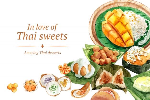 Plantilla de banner dulce tailandés con arroz pegajoso, mongo, pudín ilustración acuarela. vector gratuito